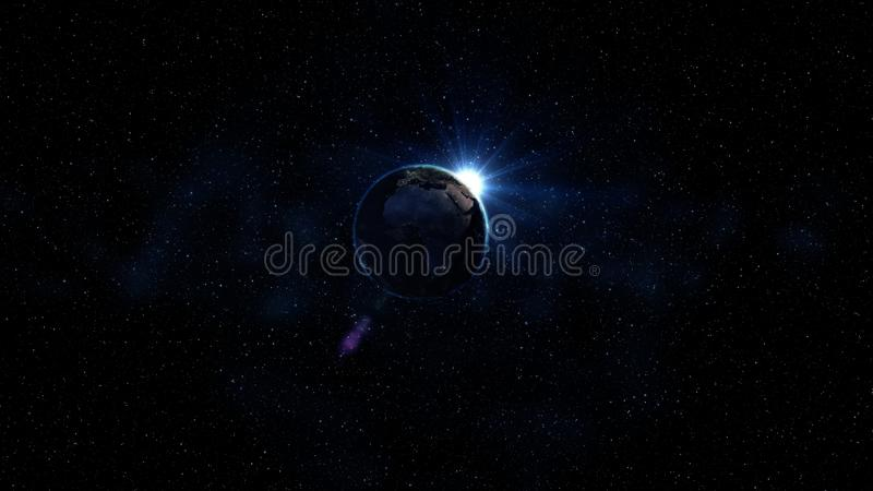 3D翻译从空间的世界地球 从空间的蓝色日出视图 显示与星和星云的夜空 这个图象的元素 库存图片