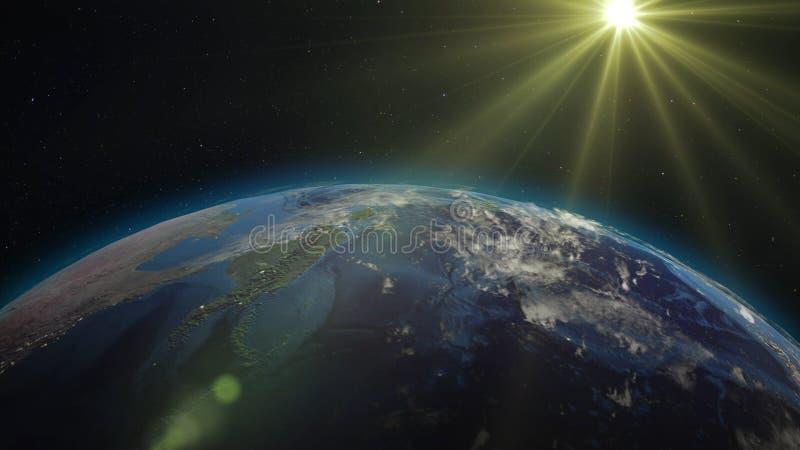 3D翻译从空间的行星地球反对背景 库存例证