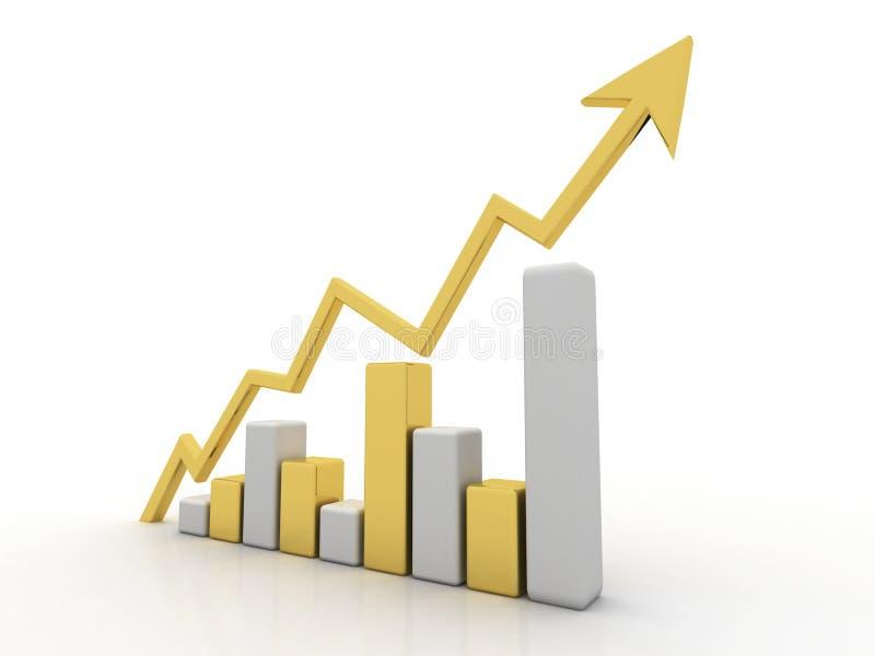 3d翻译企业图表和文件在白色背景,股市概念,网上股市概念中 向量例证