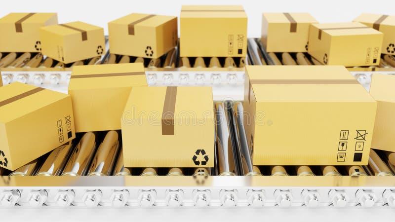 3D翻译包装交付,包装的服务并且打包运输系统概念,在传动机的纸板箱 皇族释放例证