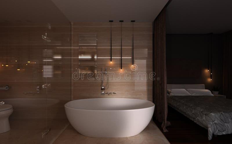 3D翻译卧室和卫生间内部 免版税库存照片