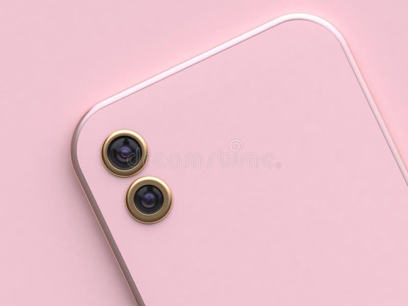 3d翻译双重金照相机桃红色智能手机 向量例证