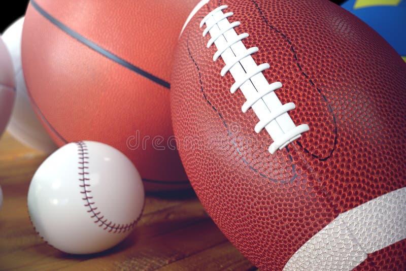 3d翻译在木backgorund的体育球 套体育运动球 运动器材这样我们橄榄球,篮球 免版税库存图片