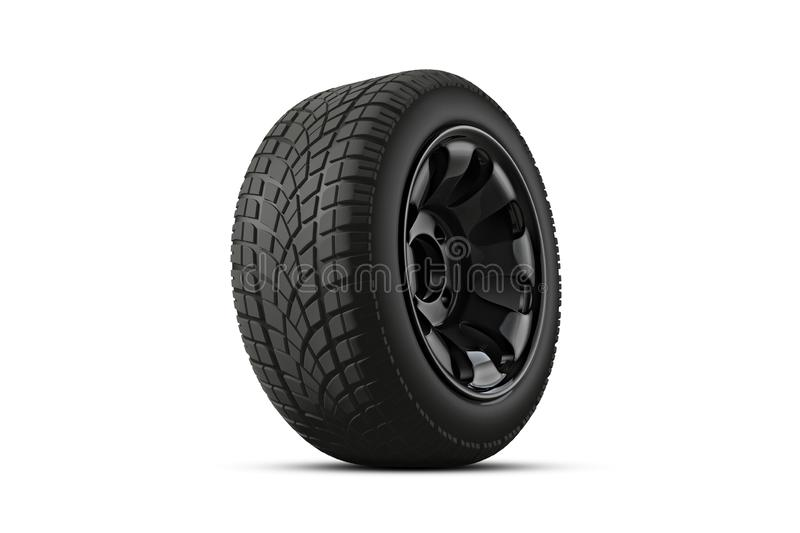3d翻译在背景的车胎 免版税库存图片
