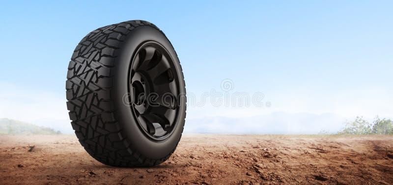 3d翻译在背景的车胎 免版税库存照片