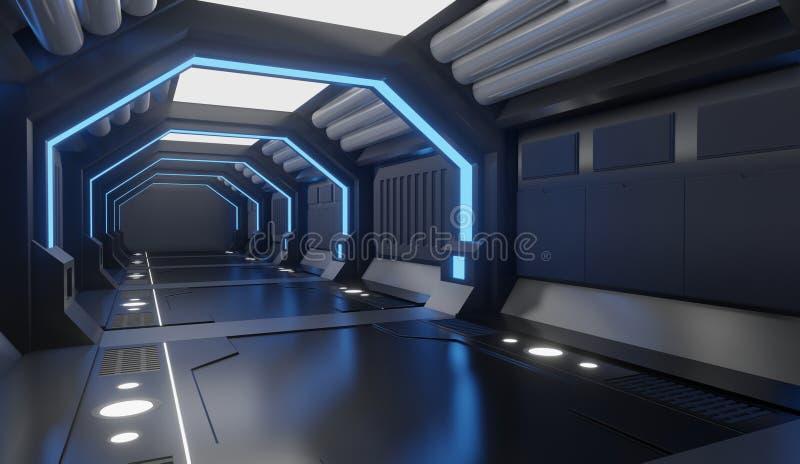 3D翻译太空飞船与蓝色光,隧道,大走廊的黑色内部,未来派 向量例证