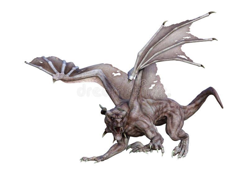 3D翻译幻想在白色的吸血鬼龙 向量例证