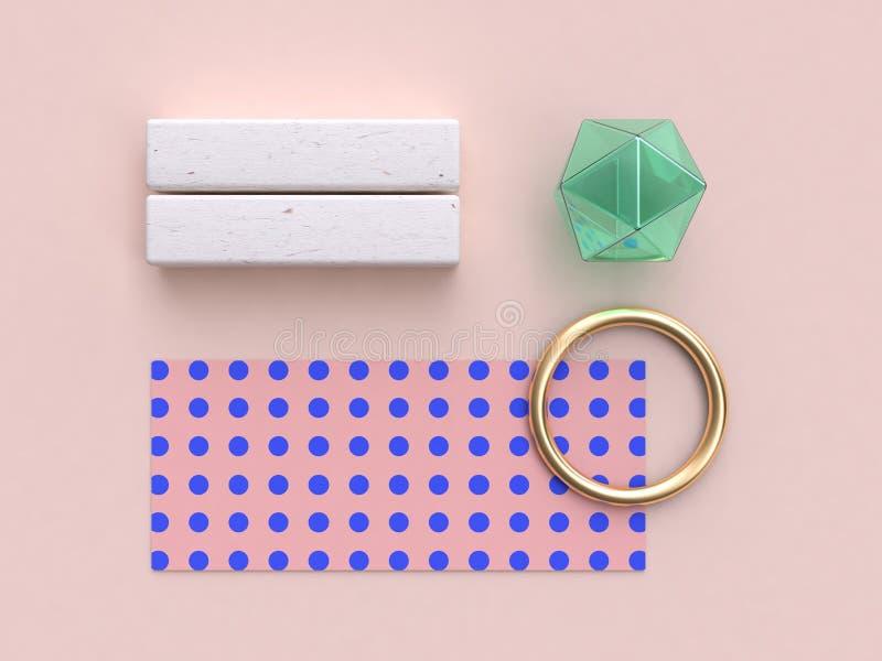 3d翻译抽象几何平的被放置的背景桃红色蓝色样式金绿色玻璃清楚地 向量例证