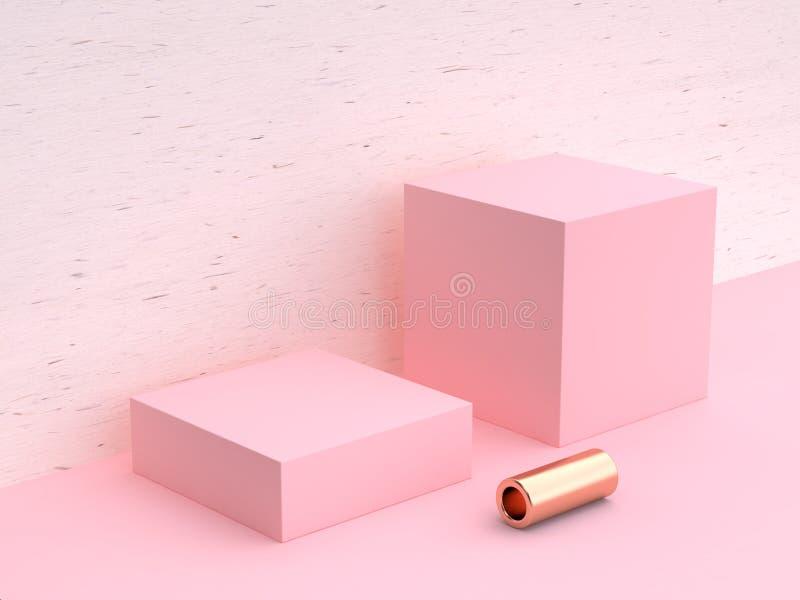 3d翻译最小的抽象方形的形状白色木桃红色墙壁场面 库存例证