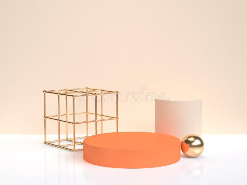 3d翻译最小的抽象橙色金子几何形状形式白色奶油色场面 库存例证