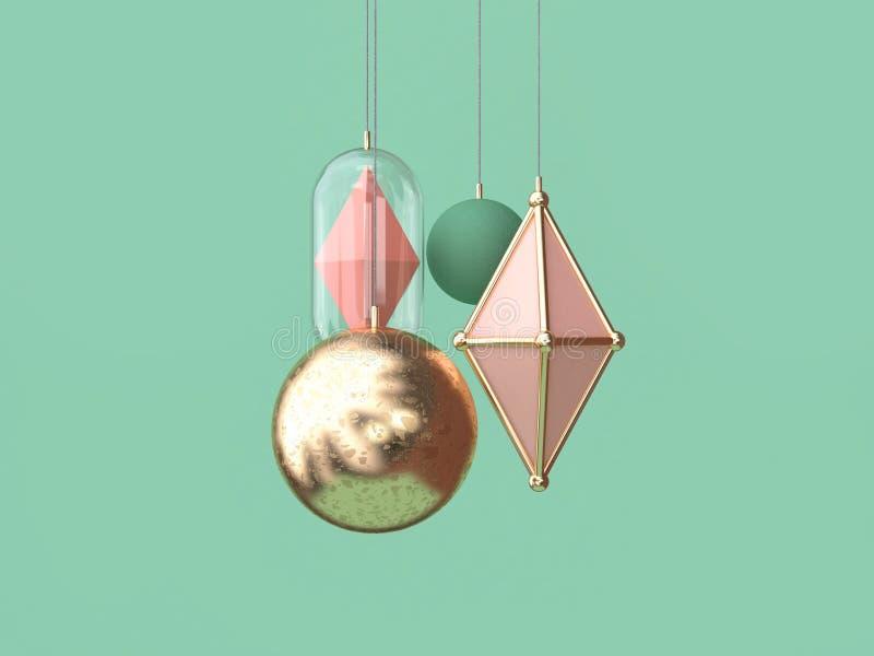 3d翻译最小的金桃红色球垂悬的圣诞装饰概念绿色背景 皇族释放例证