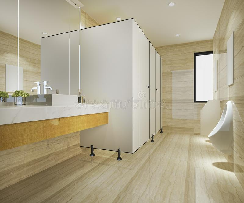 3d翻译木头和现代瓦片公共厕所 库存例证