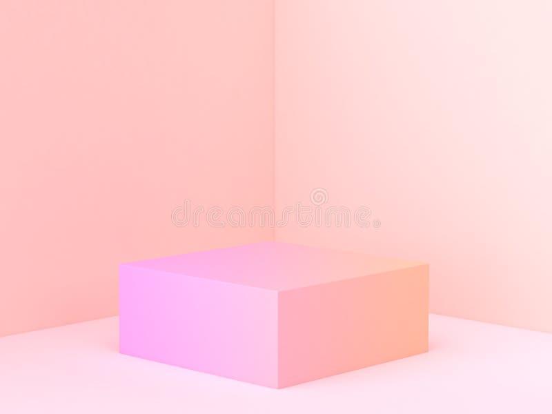 3d翻译桃红色橙色摘要墙壁角落场面最小的梯度指挥台 向量例证