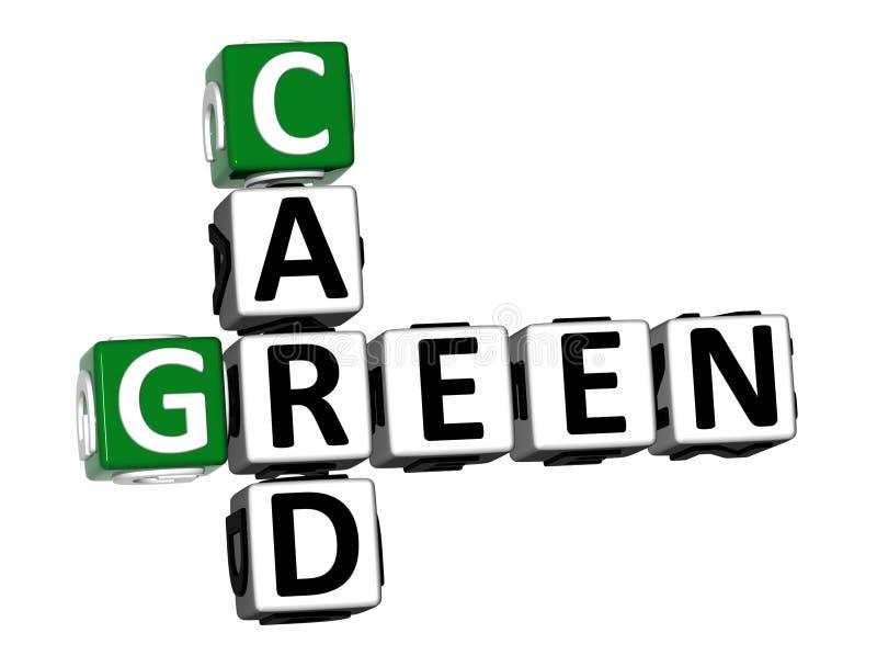 3D翻译纵横填字谜在白色背景的绿卡词 向量例证