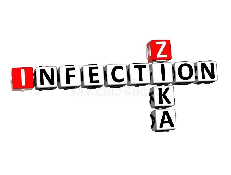 3D翻译纵横填字谜Zika在白色背景的传染词 皇族释放例证