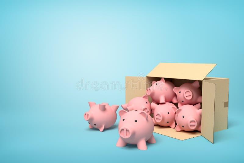 3d翻译纸板箱说谎的打横有很多浅兰的背景的桃红色陶瓷存钱罐 皇族释放例证