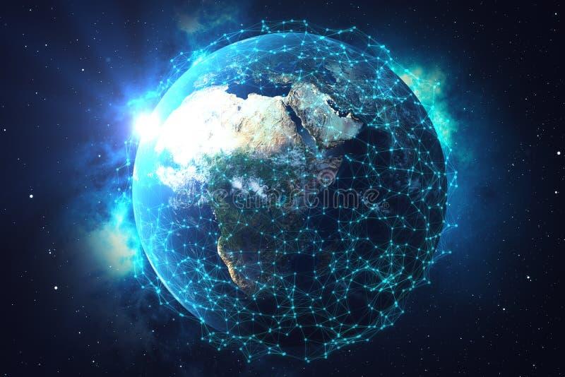 3D翻译网络和数据交换在空间的行星地球 在地球地球附近的连接线 蓝色日出 向量例证