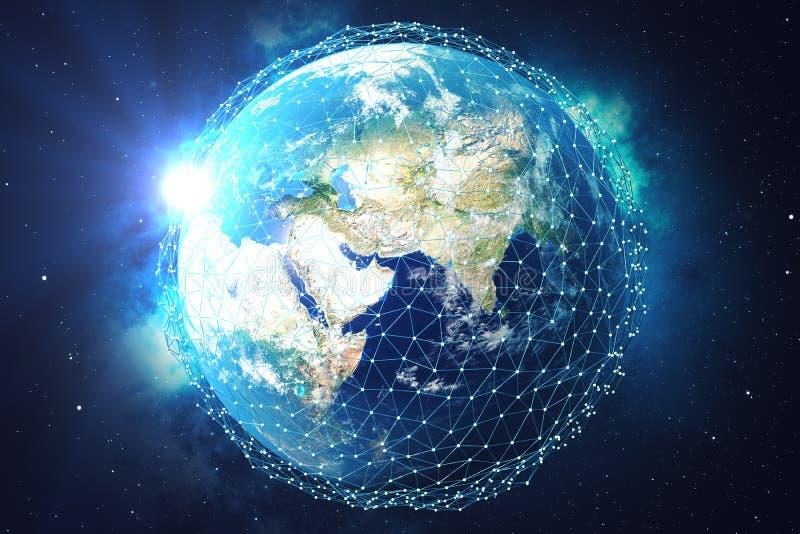 3D翻译网络和数据交换在空间的行星地球 在地球地球附近的连接线 蓝色日出 库存例证