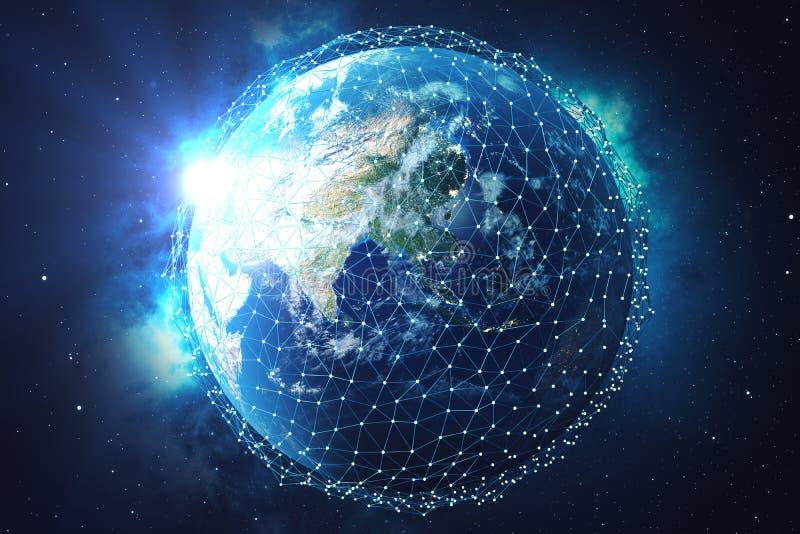 3D翻译网络和数据交换在空间的行星地球 在地球地球附近的连接线 蓝色日出 皇族释放例证