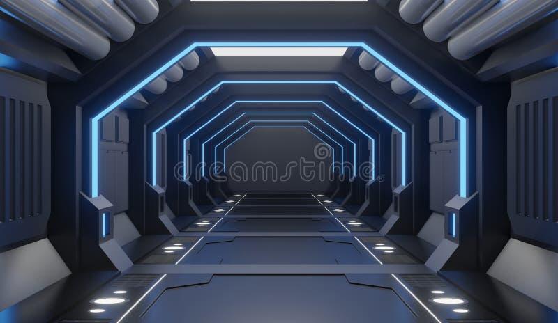 3D翻译装备了太空飞船黑内部与蓝色光,隧道,走廊,未来派正面图 皇族释放例证