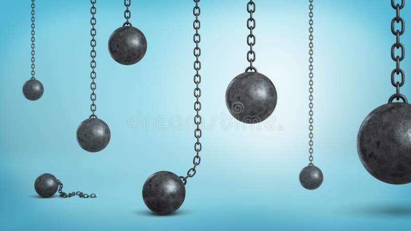 3d翻译许多击毁球的黑铁垂悬在链子和跌倒在蓝色背景 库存例证