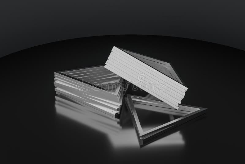 3d翻译,三角金属框架,工业背景 库存例证