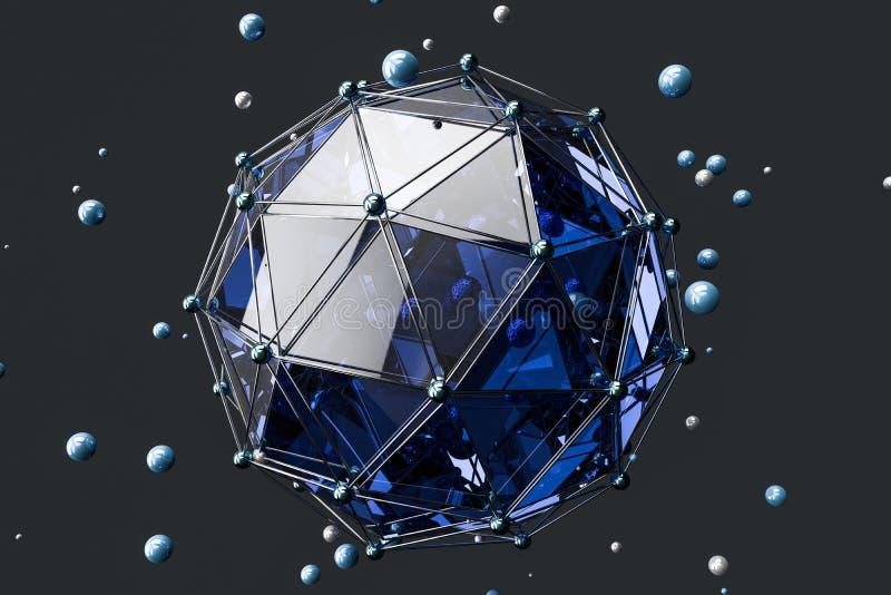 3d翻译,创造性的三角多角形建筑 皇族释放例证