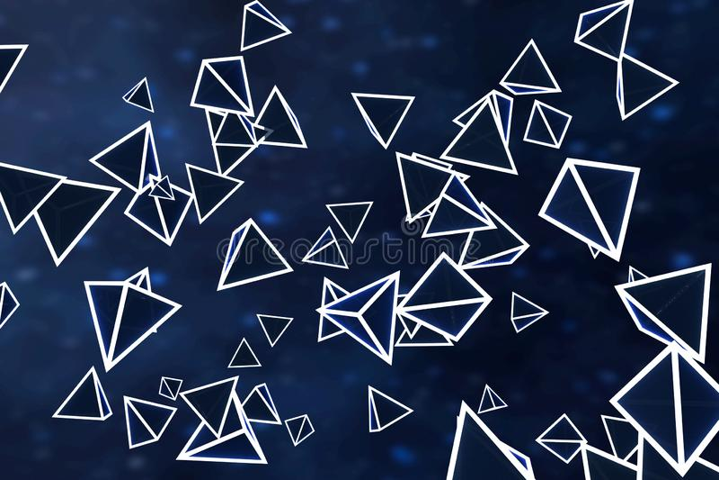 3d翻译,发光的三角立方体有黑暗的背景 向量例证