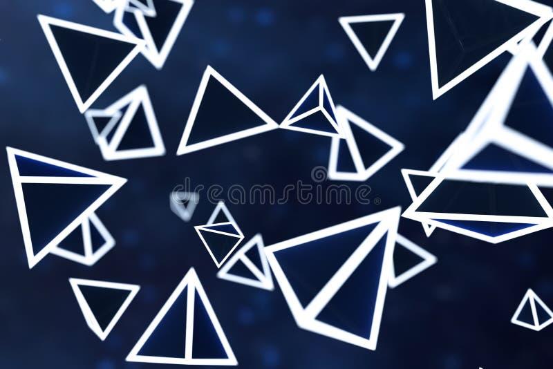 3d翻译,发光的三角立方体有黑暗的背景 库存例证