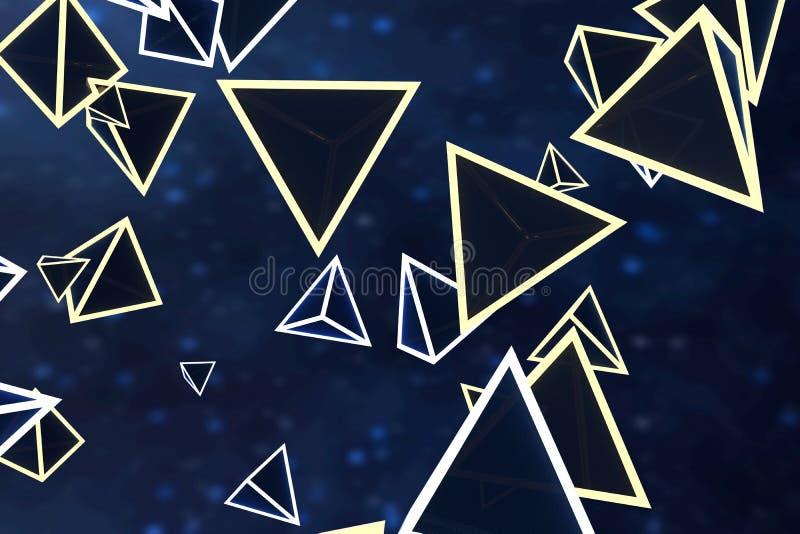 3d翻译,发光的三角立方体有黑暗的背景 皇族释放例证