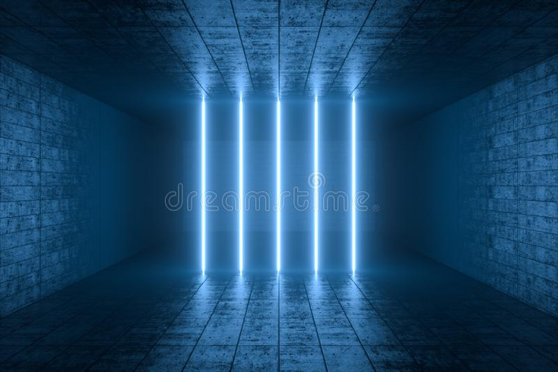 3d翻译,发光的不可思议的线在anbanoned屋子,黑暗的背景里 免版税图库摄影