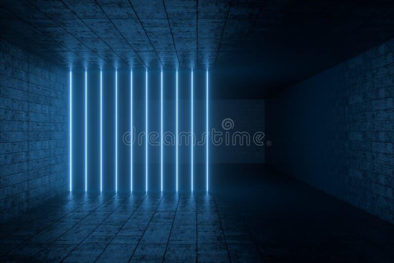 3d翻译,发光的不可思议的线在anbanoned屋子,黑暗的背景里 库存照片