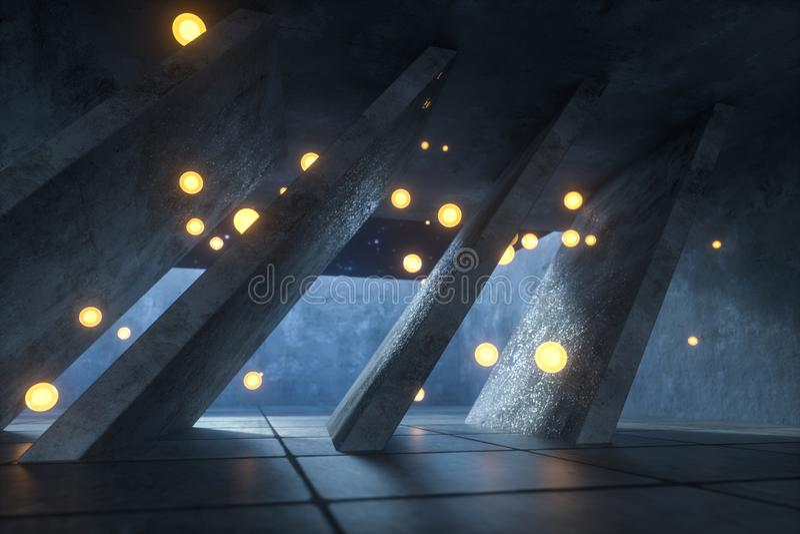 3d翻译,发光的火飞行在被放弃的屋子,黑暗的背景里 免版税图库摄影