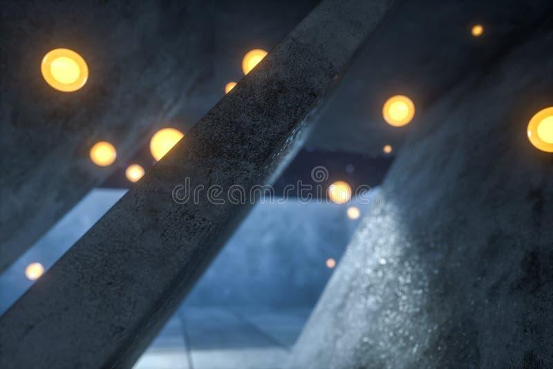 3d翻译,发光的火飞行在被放弃的屋子,黑暗的背景里 库存图片