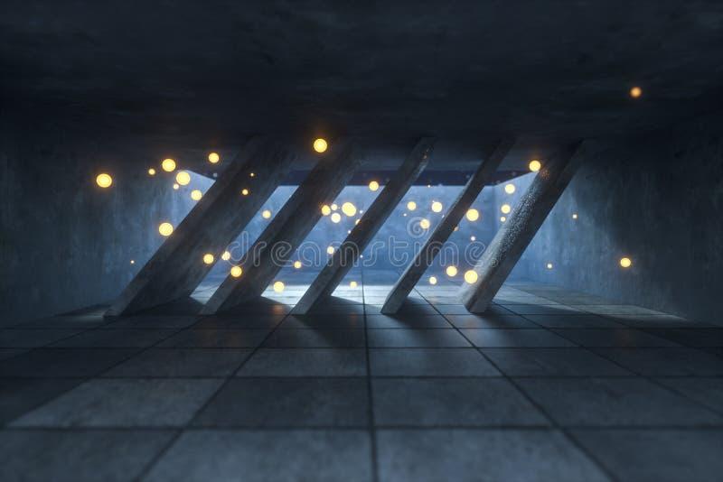 3d翻译,发光的火飞行在被放弃的屋子,黑暗的背景里 库存照片