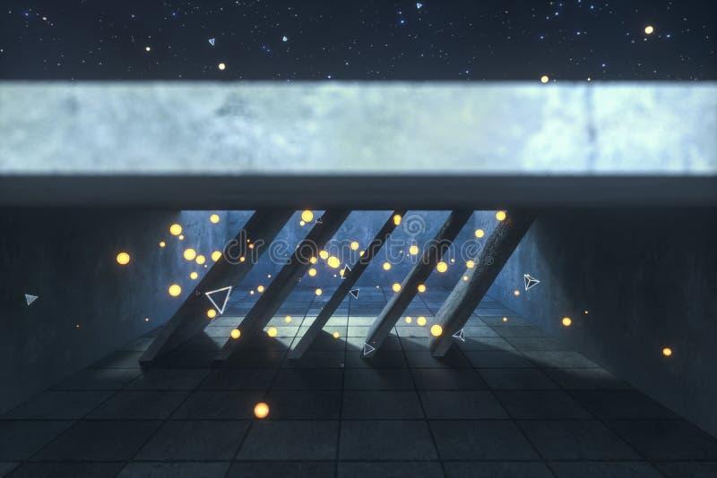 3d翻译,发光的火飞行在被放弃的屋子,黑暗的背景里 图库摄影