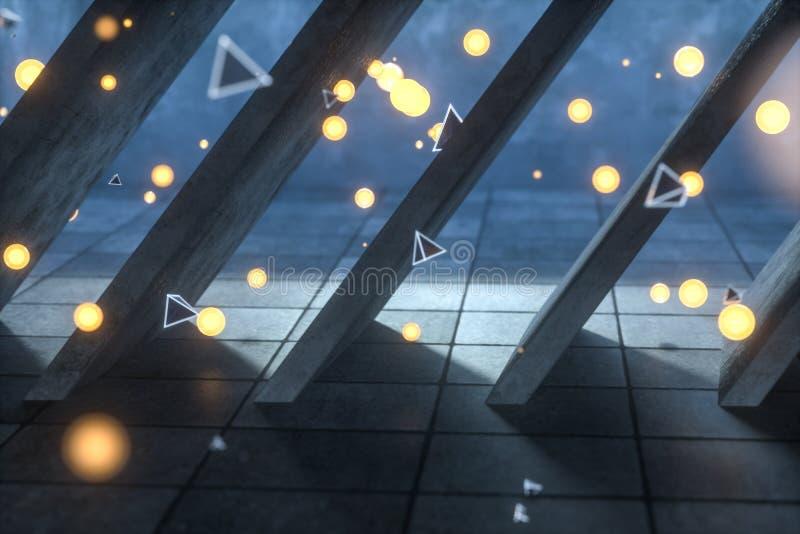 3d翻译,发光的火飞行在被放弃的屋子,黑暗的背景里 免版税库存图片