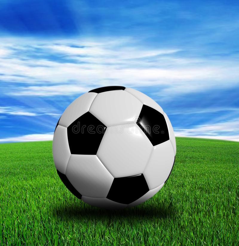 3D翻译,在蓝色背景隔绝的足球 免版税库存照片