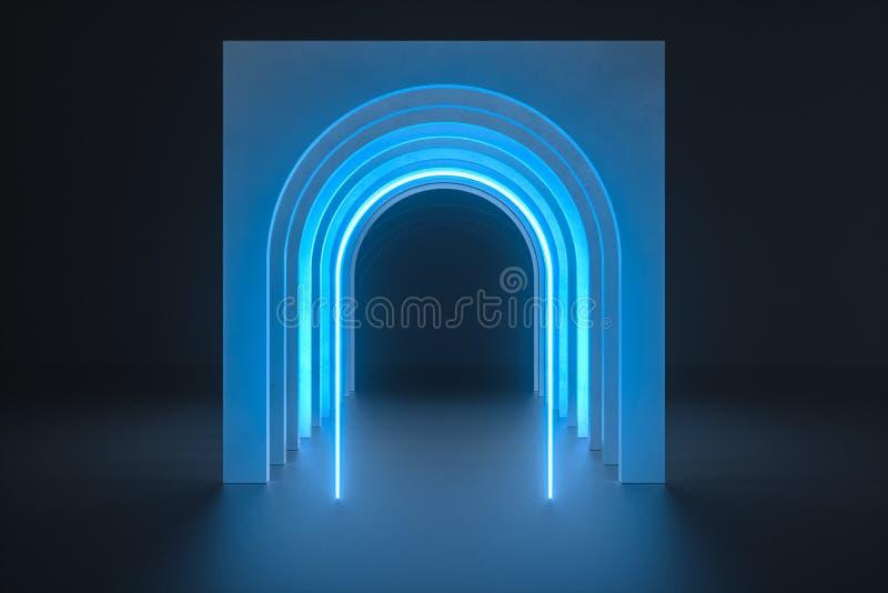 3d翻译,尘土岩石隧道建筑,神奇背景 库存例证