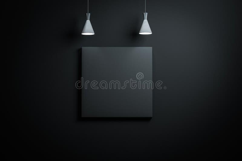 3d翻译,有精妙的顶灯的陈列墙壁 向量例证