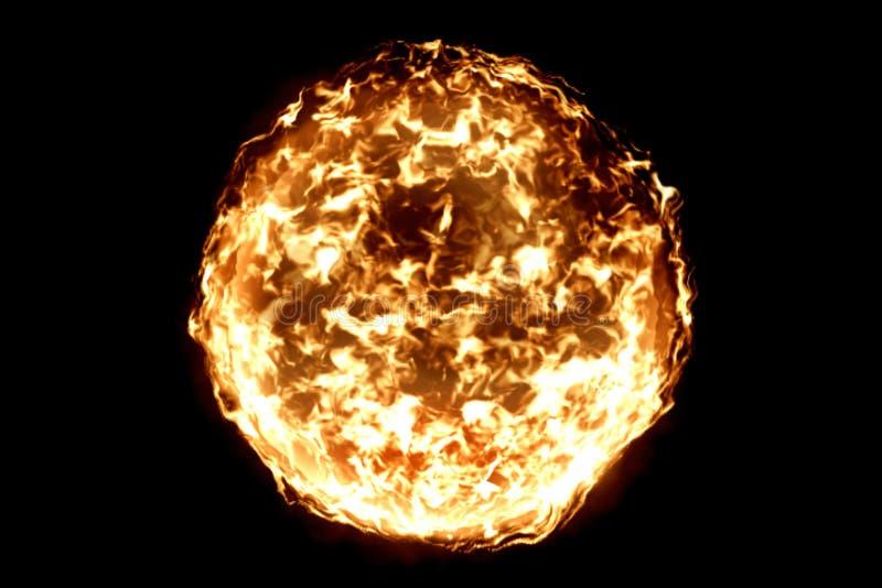 3D翻译,火焰火球在黑背景,危险火焰中 库存图片