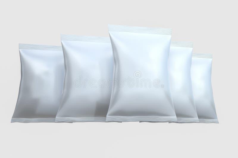 3d翻译,白色包装的袋子有白色背景 库存图片
