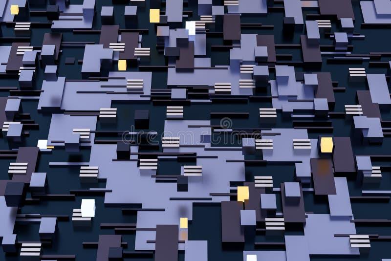 3d翻译,立方体上空间,幻想世界 库存例证