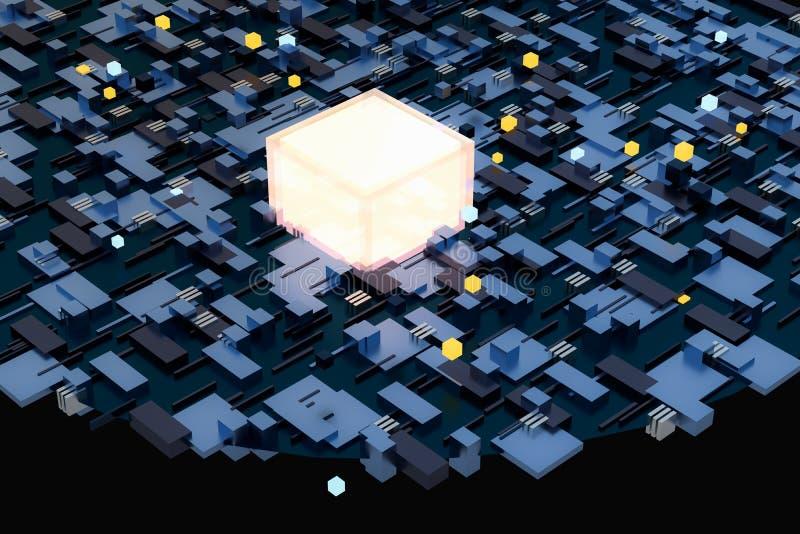 3d翻译,立方体上空间,幻想世界 皇族释放例证