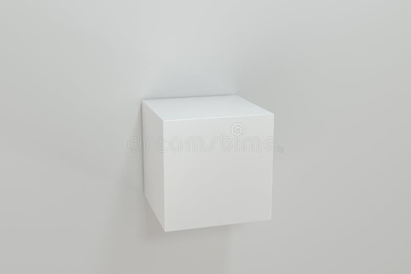 3d翻译,立方体平台在白色空的屋子 库存例证