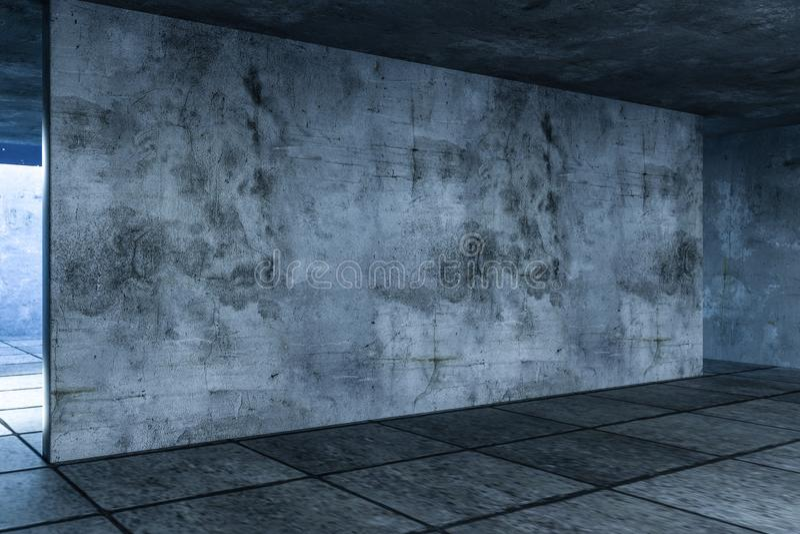 3d翻译,被放弃的空的屋子在晚上 库存例证