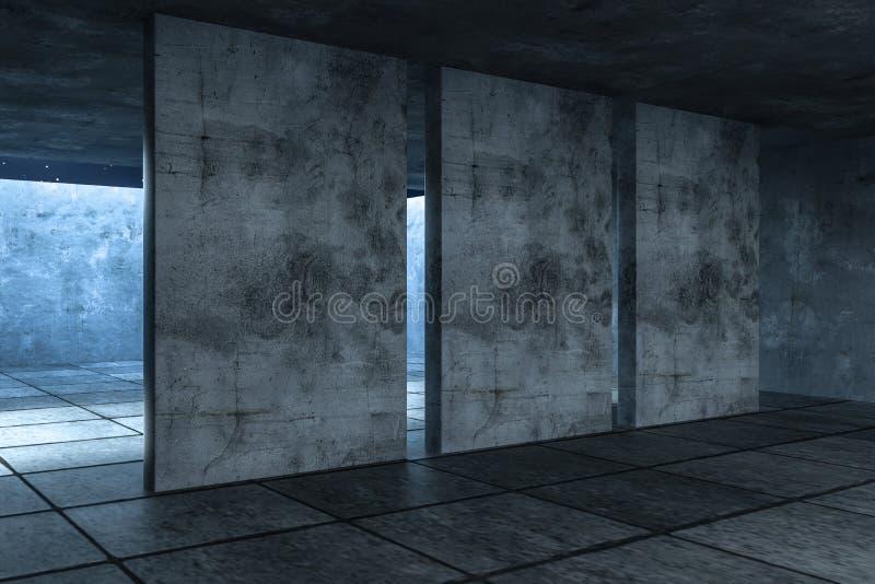 3d翻译,被放弃的空的屋子在晚上 皇族释放例证