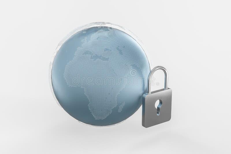 3d翻译,金属锁有数字概念背景 皇族释放例证