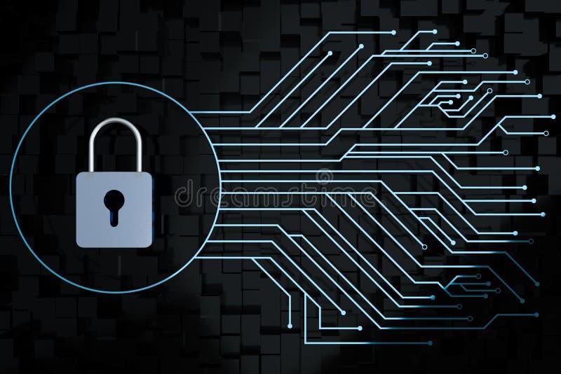 3d翻译,金属锁有数字概念背景 向量例证