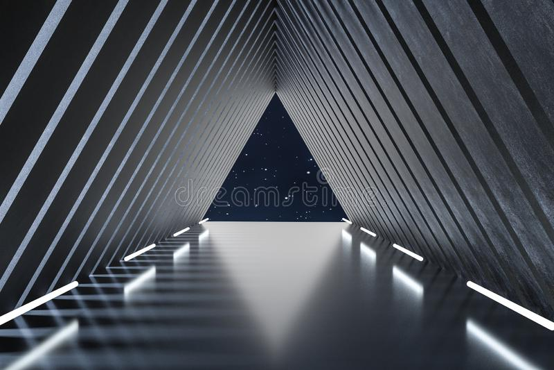 3d翻译,黑暗的创造性的多角形元素 库存例证
